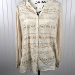 Style & Co. Cream V Neck Embroidered Stretch Side